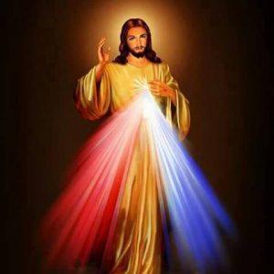 Jesus mit magenta und blauem Licht