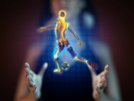 Hände mit Läuferhologramm