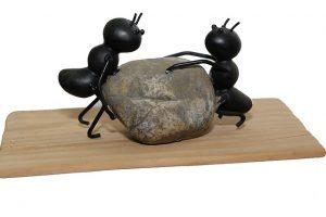 Ameisen heben Stein an