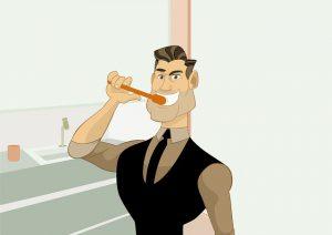 Mann putzt Zähne
